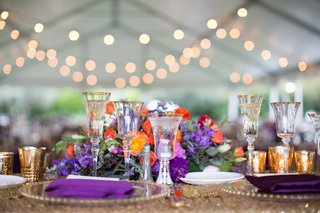 gold-sequin-table-linen-purple-napkins-berry-tone-colorful-floral-centerpieces-wedding-reception