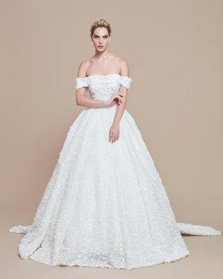 ebru-sanci-2018-bridal-collection-wedding-dress-ball-gown-off-shoulder-cuff-neckline-beading-train