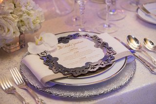 wedding-reception-place-setting-silver-laser-cut-menu-card-white-orchid-rose-hydrangea-centerpiece