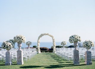 wedding-ceremony-with-urns-of-white-hydrangeas-white-floral-arch-on-lawn-of-montage-laguna-beach