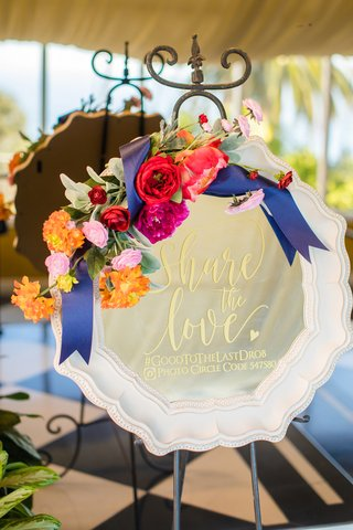 mirror-floral-accents-wedding-hashtag-information-spanish-flair-wedding-southern-california