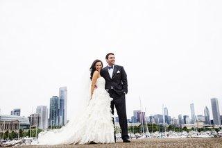 bride-in-oscar-de-la-renta-gown-with-groom-in-chicago