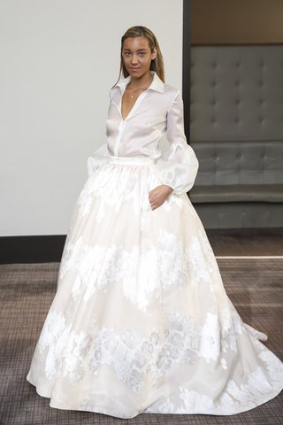 gracy-accad-fall-2018-cream-silk-organza-blouse-with-dropped-balloon-sleeves-and-full-floral-skirt