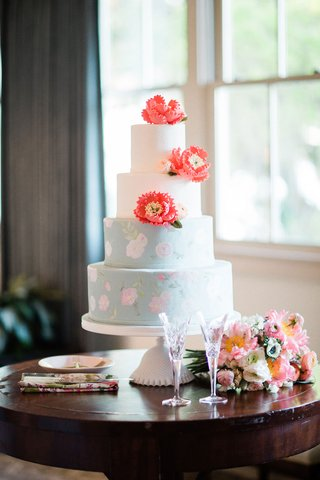 wedding-cake-four-layer-white-round-pastel-blue-pink-flower-coral-peony-sugar-flowers