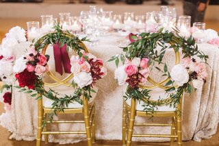 gold-chairs-floral-wreaths-sweetheart-table-red-pink-white-flowers-pelican-hill-wedding-resort-bold