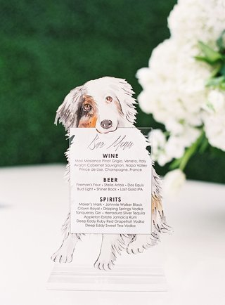 wedding reception cocktail hour bar menu custom with drawing of couple's dog australian shepherd