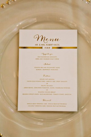 wedding-menu-card-modern-style-menu-in-calligraphy-gold-foil-banner-by-wedding-date-selections