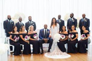 retired nba player brendan haywood wedding party off shoulder bridesmaid dresses and groomsmen suits