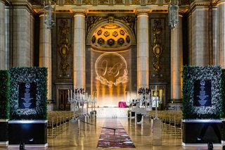 wedding ceremony decor andrew w mellon auditorium candelabra hedge greenery schedule