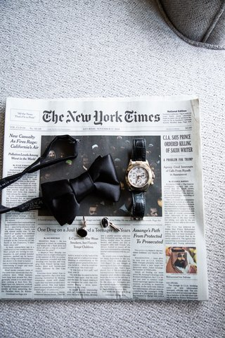 groom bow tie watch and wedding accessories on front page of the NYT new york times