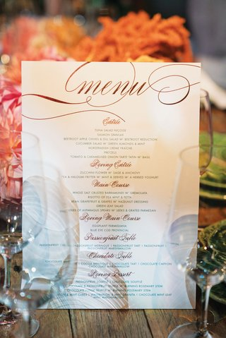wedding reception menu design entree choices main course and food stations dessert table ceci new york design