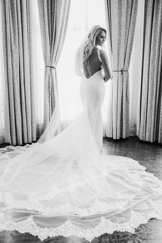 black-and-white-photo-of-bride-in-galia-lahav-open-back-dramatic-train