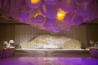 floral-wall-stage-dance-floor-couch-indian-hindu-wedding-california-white-color-scheme-purple