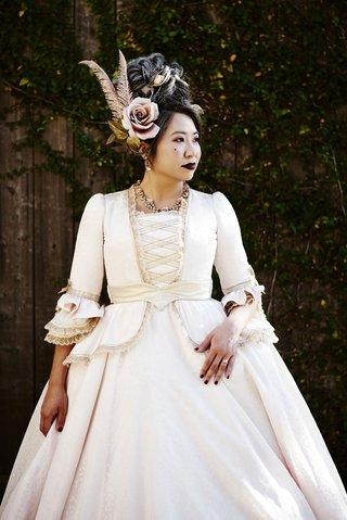 halloween-wedding-bride-white-gold-dress-ruffles-pink-rose-feather-hair-accessories