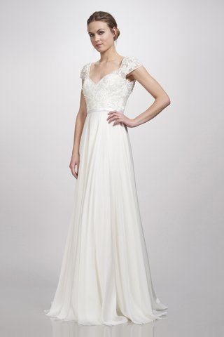 a-dress-with-capped-sleeves-a-slight-v-neckline-floral-detailing-on-the-bodice-a-thin-belt-and-a