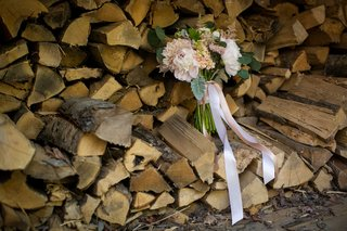 blush-ivory-bouquet-ribbons-firewood-pink-white-rustic-wedding