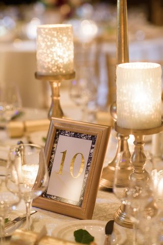 gold-candle-holder-gold-frame-gold-foil-table-number-with-floral-print-border-navy-blue