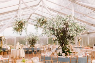 wedding-reception-clear-top-tent-dogwood-trees-flower-chandeliers-peach-pink-blue-gold-color-palette