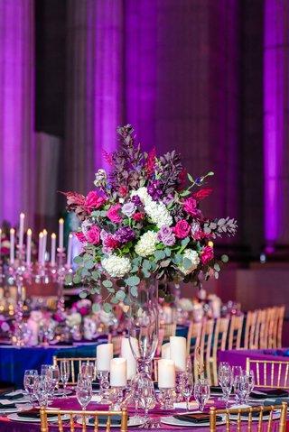 wedding reception centerpiece andrew w mellon auditorium tall ivory hydrangea purple lavender pink roses greenery gold chairs