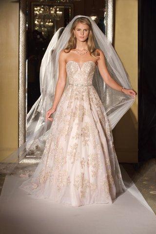 oleg-cassini-davids-bridal-wedding-dress-strapless-ball-gown-blush-rose-gold-lace-applique-tulle