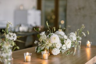 all white neutral tablescape wood table