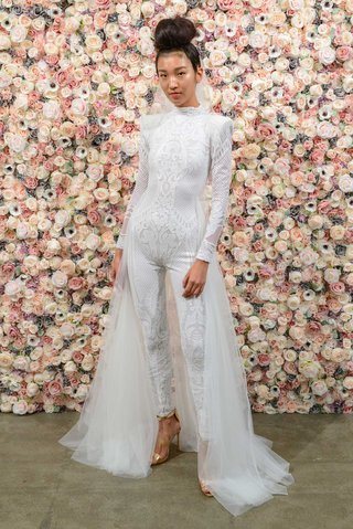 michael-costello-spring-summer-2018-bridal-couture-collection-long-sleeve-high-neck-jumpsuit-tulle