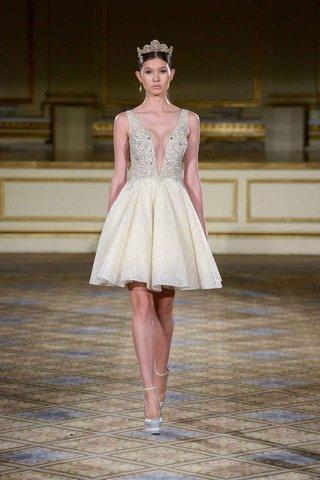 berta-fall-winter-2016-sleeveless-beaded-bodice-and-short-pleated-skirt