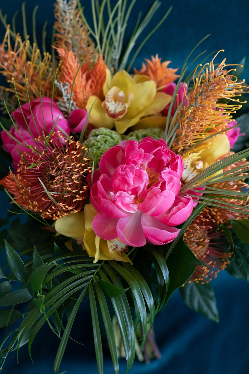 Pink Peony, Orchid & Protea Bouquet