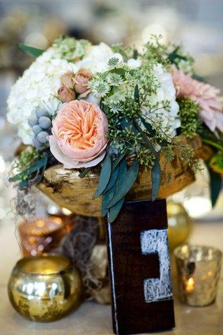 fall-wedding-with-gold-branch-vessel-pink-garden-rose-white-hydrangea-flower-arrangement