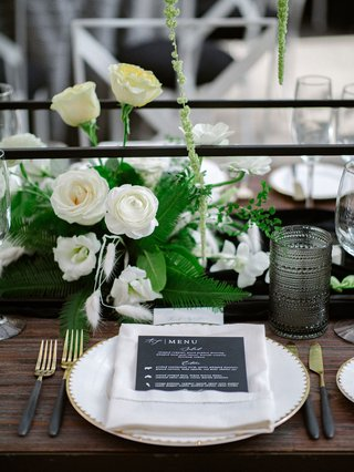 A Charming Fete Modern Place Setting black and gold wedding decor