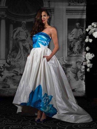 sarah-jassir-strapless-high-low-ball-gown-wedding-dress-with-bright-blue-flower-print
