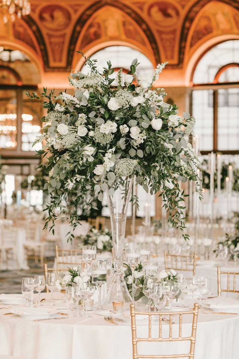 Luxe Greenery & White Floral Centerpiece