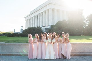 mismatched-bridesmaids-pink-dresses-high-neck-beading-lace-short-sleeve-high-low-bride-in-amsale