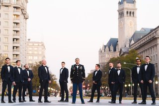 wedding-portrait-groom-in-military-uniform-with-groomsmen-in-tuxedos-washington-dc
