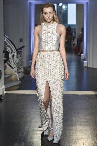 lakum-fall-2018-ribbon-blossom-embroidered-top-neoprene-side-panels-matching-sheath-skirt-with-slit