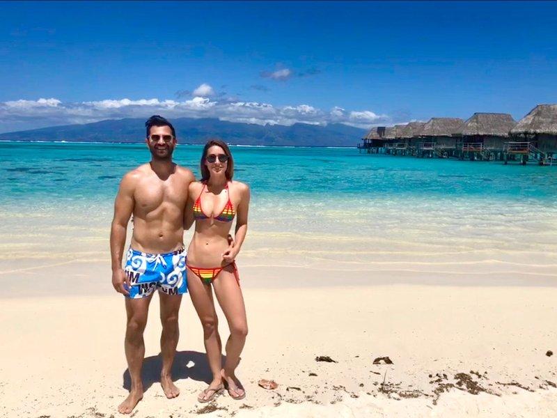 Honeymooners on Beach in Moorea