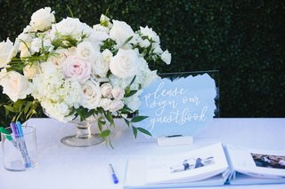 wedding-guest-book-sign-acrylic-lucite-with-white-calligraphy-blue-brushstroke-design