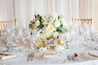 small-low-centerpiece-with-white-flowers-and-eucalyptus-leaves-surrounded-by-gold-votive-candles