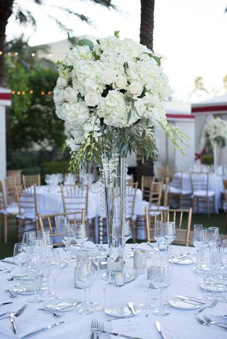 wedding-reception-tall-centerpiece-crystals-greenery-white-hydrangea-rose-flowers-classic
