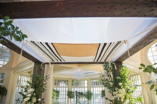 a-striped-tallit-stretched-across-the-top-of-a-couples-chuppah-for-their-traditional-jewish-ceremony