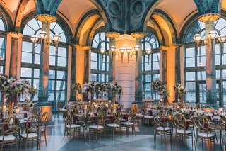 henry-morrison-flagler-museum-wedding-reception-gold-burgundy-greenery-ivory-color-palette