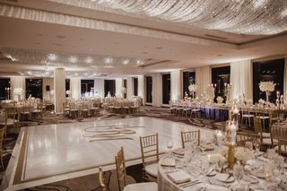 wedding-reception-ballroom-round-tables-head-table-around-dance-floor-monogram-gold-border-crystals