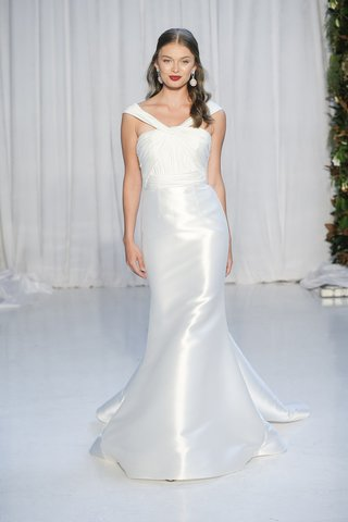 anne-barge-fall-2018goddess-draped-off-the-shoulder-bodice-of-charmeuse-with-mikado-mermaid-skirt