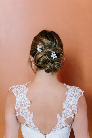 bridal-floral-hairpins-from-bhldn-lace-straps-on-bridal-gown