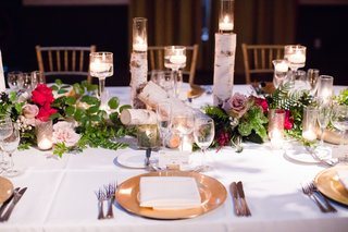 wedding-reception-centerpieces-with-sections-of-birth-tree-candles-greenery-and-roses