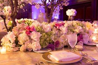 white-rose-white-hydrangea-green-hydrangea-pink-rose-wedding-reception-table-runner-centerpiece