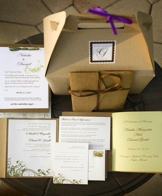 neutral-tan-wedding-invite-with-white-and-green-design