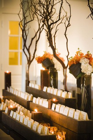 fall-wedding-escort-cards-on-branch-and-wood-table