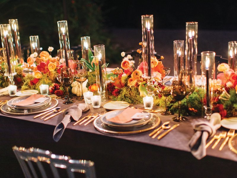 Burgundy Taper Candles at Wedding Table