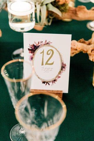 wedding-reception-emerald-green-velvet-linen-purple-flower-design-gold-table-number-card
